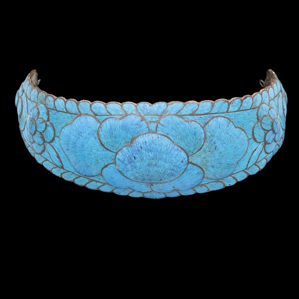 Antique Chinese head ornament decorated in kingfisher feathers