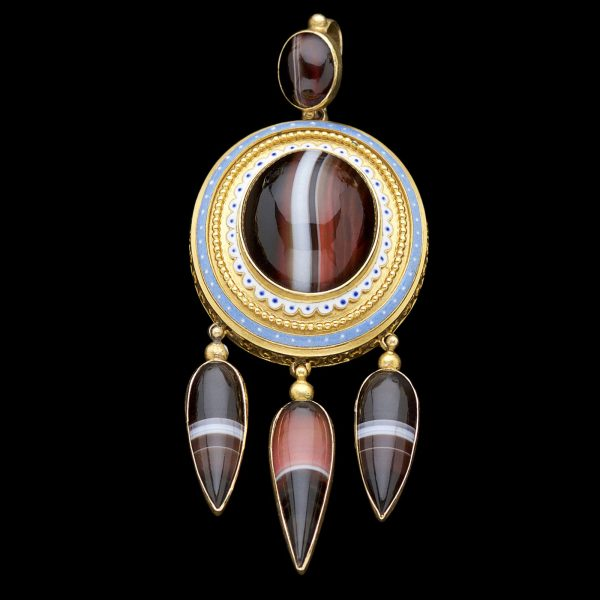 Superb gold and banded agate pendant decorated with blue and white enamel with three pendant drops. Original fitted case by James Carr, Aberdeen