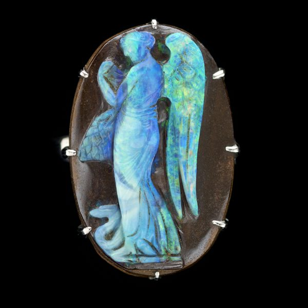 Extremely rare opal cameo set in silver as a ring