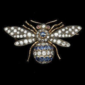 Victorian diamond and sapphire bee brooch