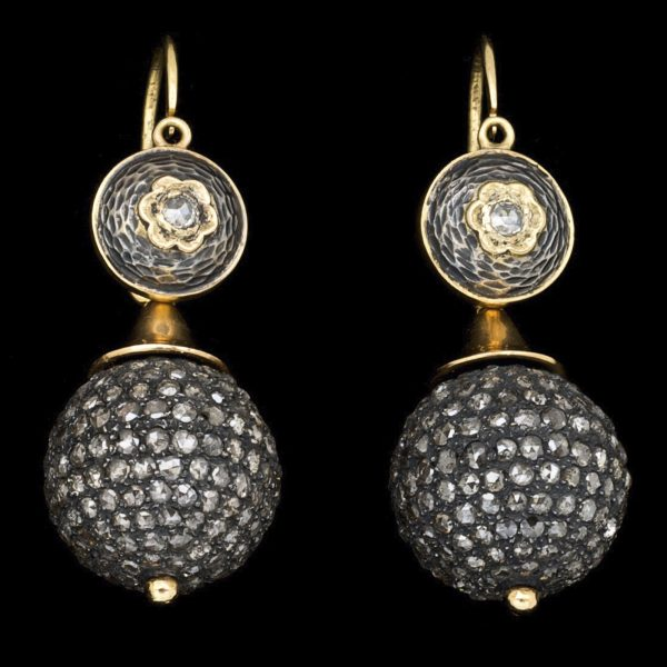 Victorian silver and gold 'ball' earrings