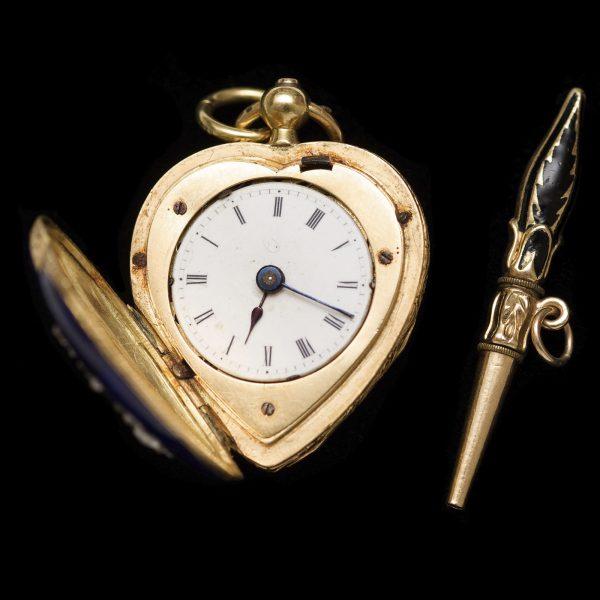 Victorian enamel & diamond anchor watch pendant