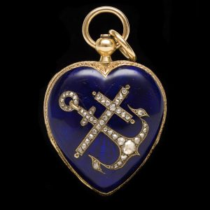 Victorian heart shaped gold and blue enamel pendant