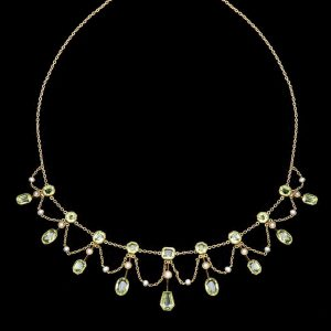 Edwardian peridot and pearl swag necklace