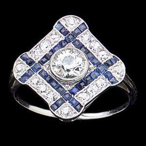 Art Deco diamond shaped sapphire and diamond ring. The central diamond 0.53ct
