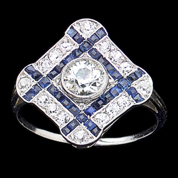 Art Deco diamond shaped sapphire and diamond ring. The central diamond 0.53ct