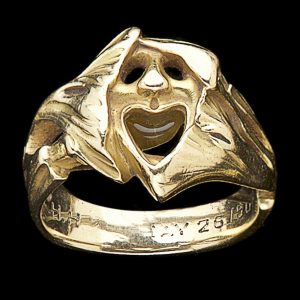 French Art Nouveau 18ct gold theatrical mask ring