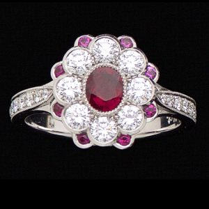 Exquisite ruby and diamond ring