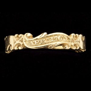 Georgian gold hoop ring with five scrolls engraved April 1