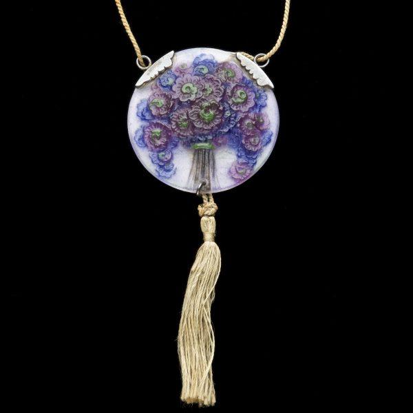 Pâte-de-Verre pendant on a tasselled cord by French designer Gabriel Argy-Rousseau c.1921