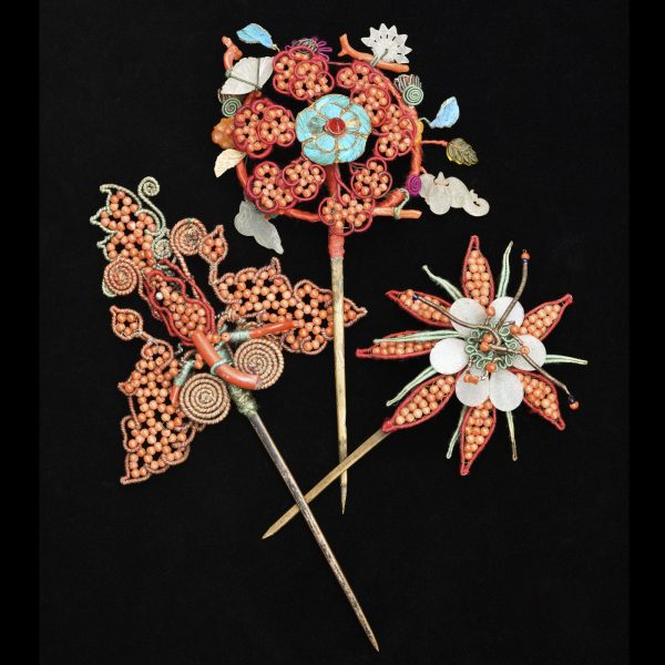 Three antique Chinese hair pins set with coral, jade and kingfisher feathers. Late 19th century