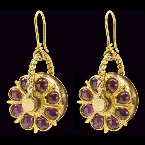 Indian 22ct gold earrings set with rubies, from Bangalore, Karnataka