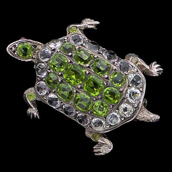 Victorian silver, green and white paste tortoise brooch