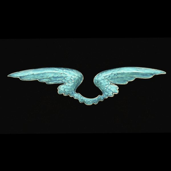 Turquoise enamel 'wings' brooch, in original case marked Child and Child London c.1900