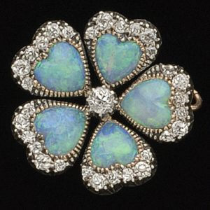 Victorian opal and diamond flower brooch English c.1890