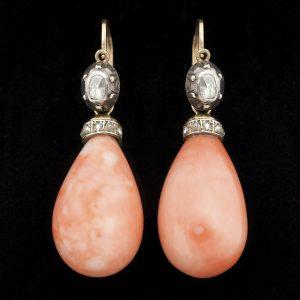 Antique coral ear pendants