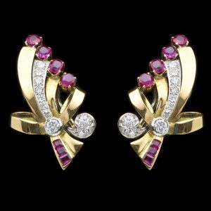 18ct gold ruby and diamond earclips in bow design