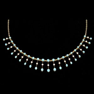 Victorian 18ct gold fringe necklace set with turquoise and natural pearls, original fitted case