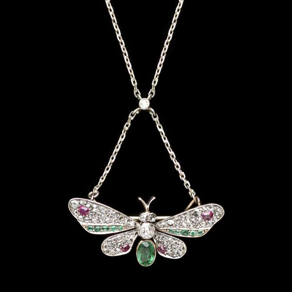 Edwardian necklace with pendant in the form of a butterfly set with diamonds