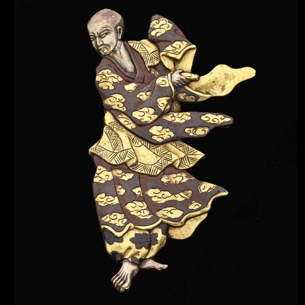 Rare Japanese Shakudo figure of a dancer mounted as a brooch