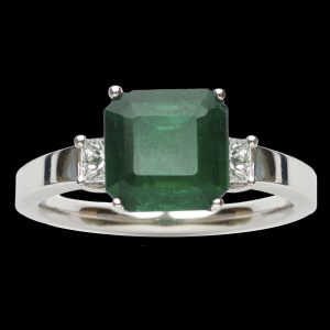 Modern emerald ring. Square step cut emerald 2.25ct with diamond set shoulders 2 = 0.30ct