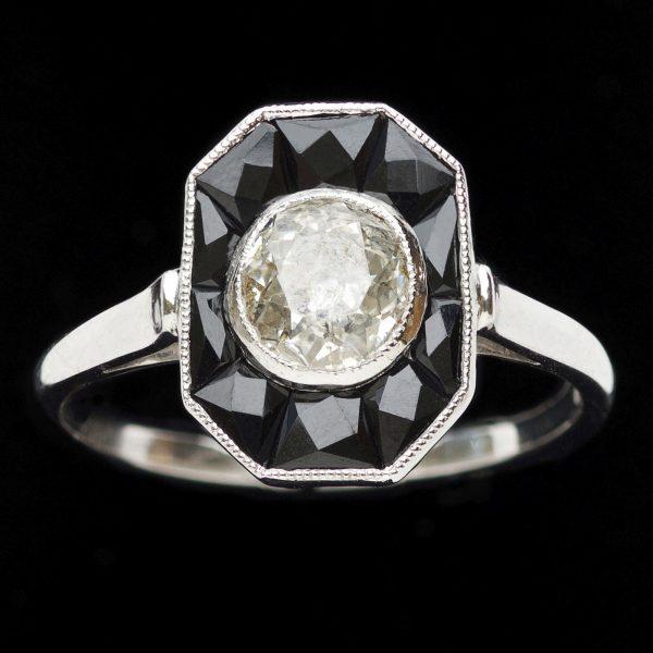 Art Deco style onyx and diamond ring