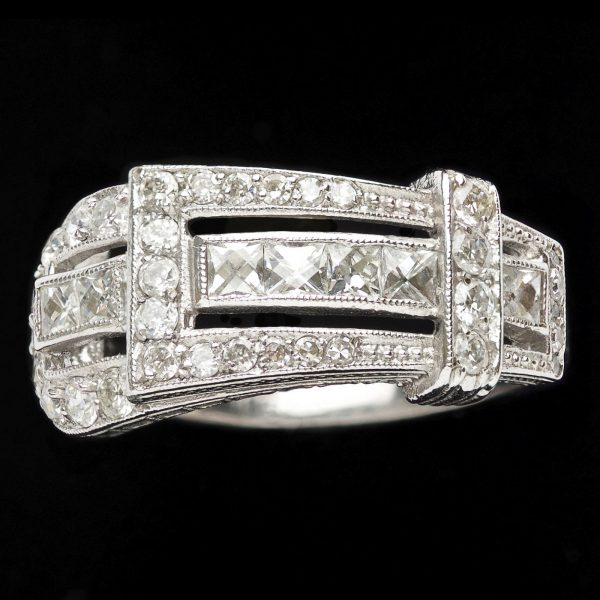 Unusual Art Deco style diamond set buckle ring in a 18ct white gold setting
