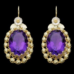 Victorian amethyst earrings 18ct two colour gold mounts