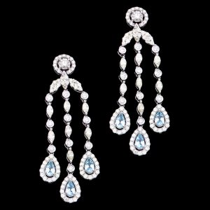 Glamorous diamond and blue topaz chandelier earrings c.1950