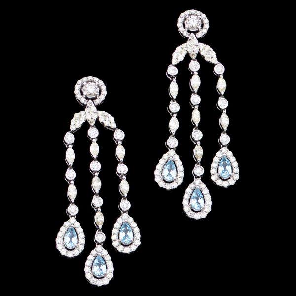 Glamorous diamond and blue topaz chandelier earrings c.1950