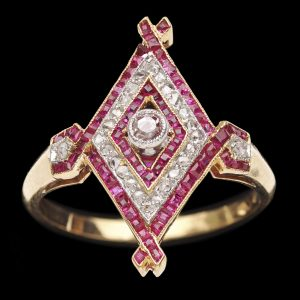 French diamond shaped ring finely set in 18ct gold
