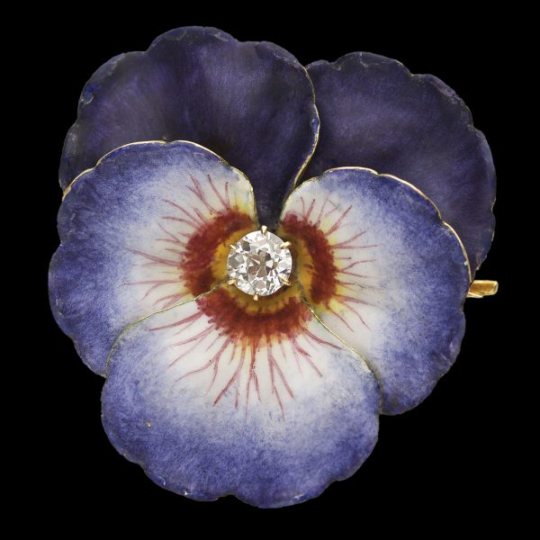 Art Nouveau enamelled gold pansy brooch/pendant set with a central diamond 0.25ct
