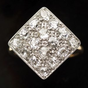 Diamond shaped diamond ring set with 16 diamonds