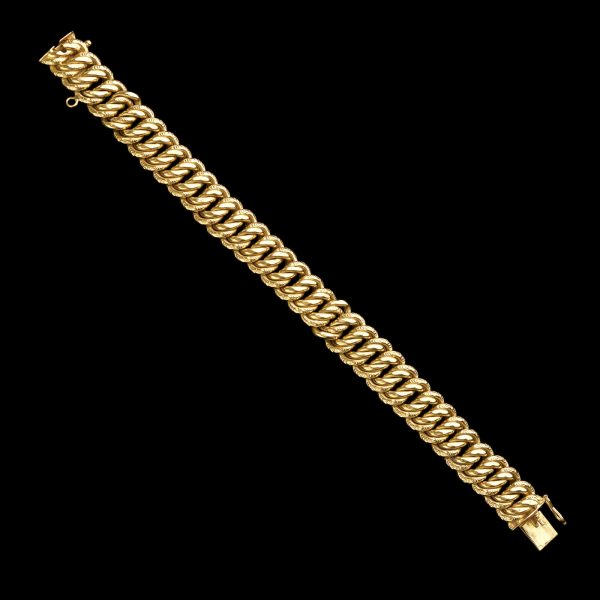 French 18ct gold triple curb chain bracelet