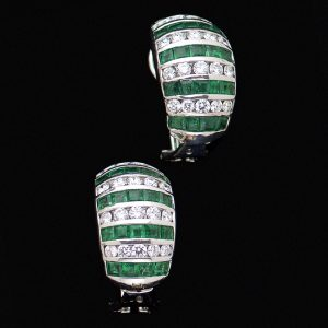 Platinum emerald and diamond clip earrings the emeralds total 1.84ct the diamonds 1ct