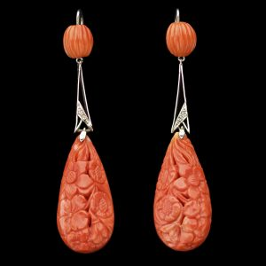 Art Deco carved coral ear pendants