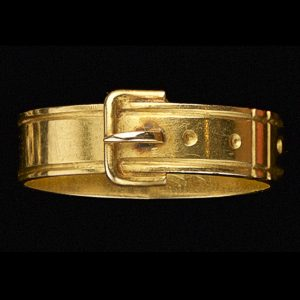 Victorian 15ct gold ring in the form of a belt and buckle symbolising the bond of friendship