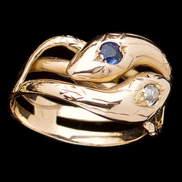 15ct rose gold double snake ring