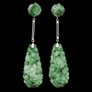 Art Deco carved jadeite earrings