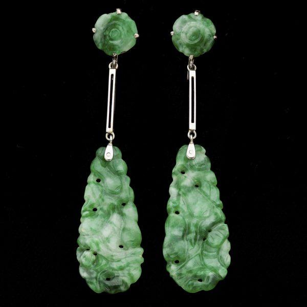Art Deco carved jadeite earrings