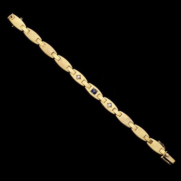 French burnished 15ct gold flat link bracelet
