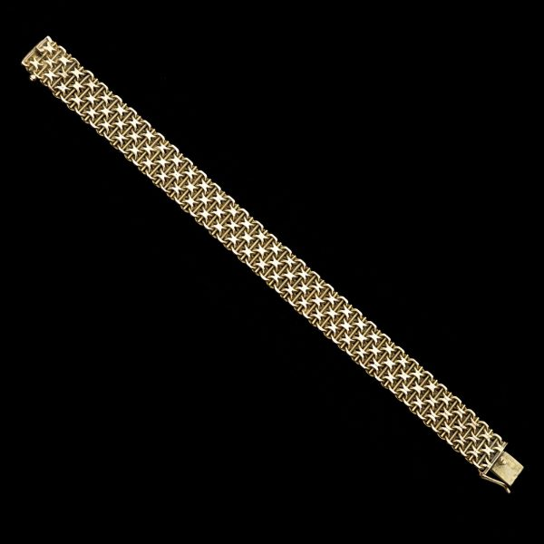 Italian bracelet in 14ct gold with woven star design
