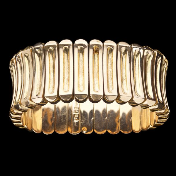 French 18ct concave rib flexible bracelet 75gm