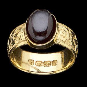 Engraved gold ring hallmarked Birmingham 1888
