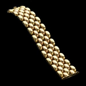 French Art Deco 18ct two colour gold five row link bracelet 78.3 gm