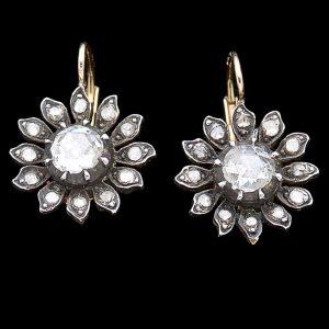 Georgian rose cut diamond sunflower design earrings