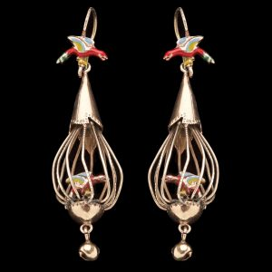 Articulated 10ct gold and enamel 'bird in cage' earrings