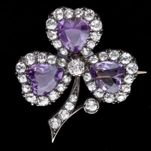 Victorian amethyst and diamond three leaf clover brooch c.1890