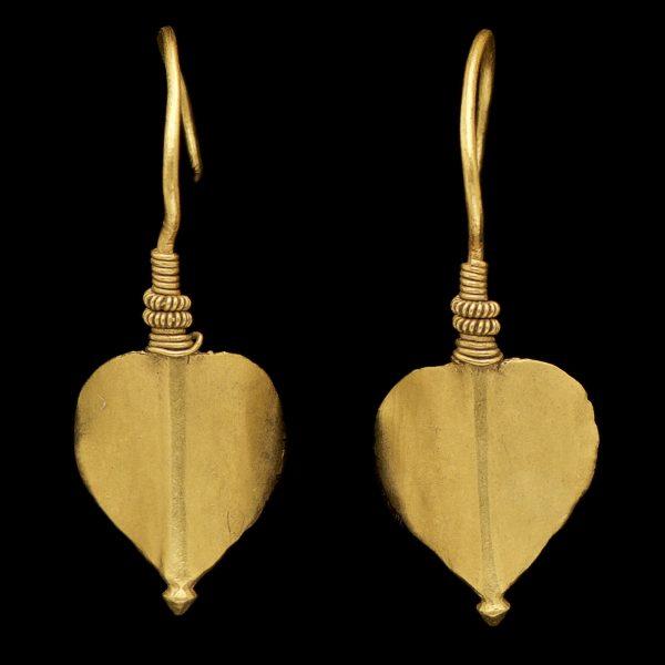 Indian 22ct gold tribal leaf earrings