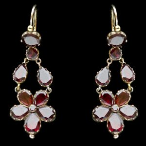 Georgian garnet foliate earrings closed back 18ct gold settings